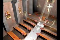 花瓣飘落的婚礼教堂