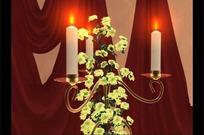 教堂旋转的鲜花白蜡烛台