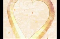 朦胧金色的爱心和飘落的红心