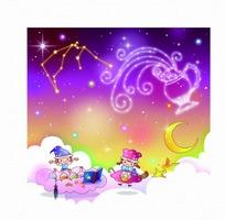 星座儿童水瓶座星座图和插画边的星座1991是啥书本图片