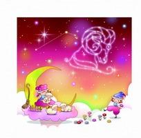 星座卡通动漫 梦幻星空白羊座的小男孩和小女孩