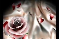 转动的粉色玫瑰花和飘动的花瓣