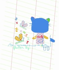 卡通插画  蜻蜓蝴蝶和小猫背影