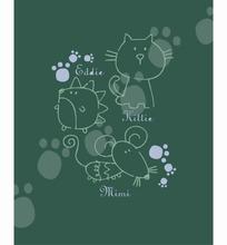 卡通动物插画-刺猬和老鼠和猫脚印