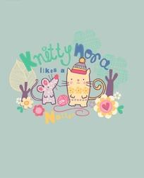 卡通动物插画-戴帽子的猫和老鼠