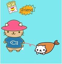 卡通动物插画-戴帽子的猫牵着白色小猫