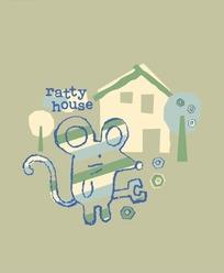 卡通动物插画-房屋前拿搬手的老鼠