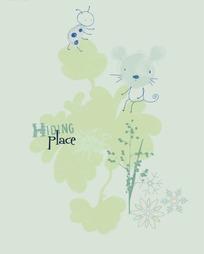 卡通动物插画-花朵的老鼠和小蜜蜂