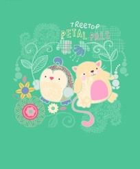 卡通动物插画-老鼠和鹰头鹰和花朵叶子