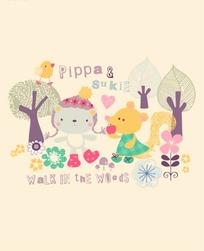 卡通动物插画-树林可爱的小熊