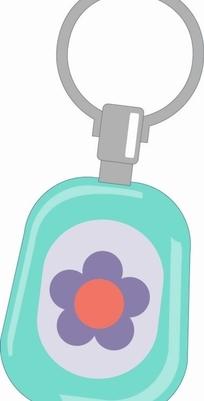 吊环上装饰着花朵的蓝色的车钥匙