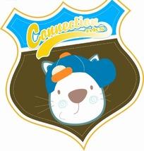 卡通动物插画-盾牌里戴帽子的猫