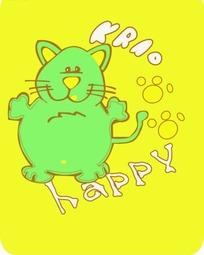 卡通动物插画-黄色背景的绿色老鼠