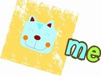 卡通动物插画-黄色方框里的小猫头像