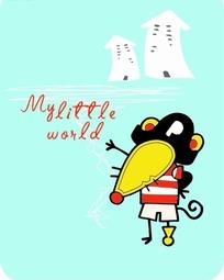 卡通动物插画-箭头房子和老鼠