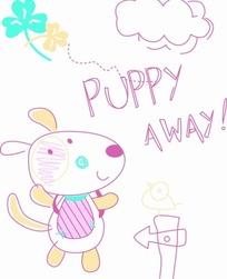 卡通动物插画-可爱的小熊和白云