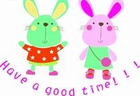 卡通动物插画-两只可爱的小兔子