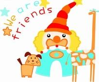 卡通动物插画-圣诞老人长颈鹿小狗