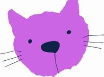 卡通动物插画-紫色猫头像