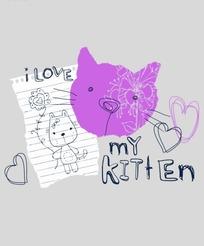 卡通画 信纸上的拿着花朵的小猫