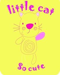 卡通动物插画-黄色背景的猫