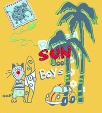 卡通动物插画-拿滑板的小猫和椰子树