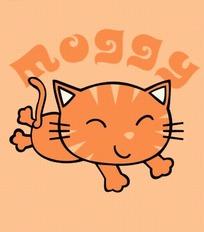 卡通动物插画-趴着的猫