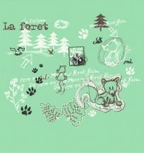 矢量卡通插画-森林和小熊