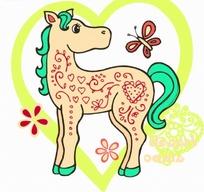 矢量卡通插画-可爱的小马和蝴蝶