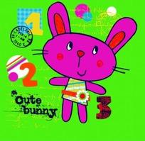 卡通画—绿色背景上的数字和可爱的兔子