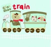 矢量印花图案-开火车的小熊和小白兔和小狗和猫
