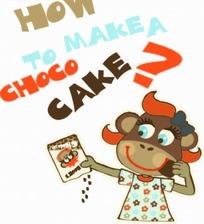 卡通插画 拿着饼干穿着小花连身裙的猴子女孩