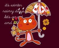 枚红色背景前的撑伞的卡通猫