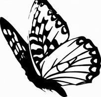 矢量印花图案-黑白展翅的蝴蝶