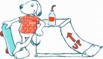 矢量印花图案-拿滑板的小狗