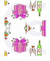 手绘曲线和礼物盒以及瓶子底纹