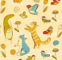 黄色背景上的猫和鸟以及花朵构成的图案