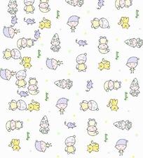 手绘英文和婴儿老鼠和小猫底纹