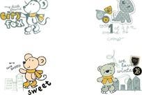 卡通插画 四款手绘小老鼠小狗小熊