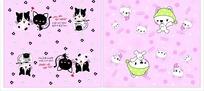 卡通动物插画 黑白小猫和戴着绿色头巾的兔子