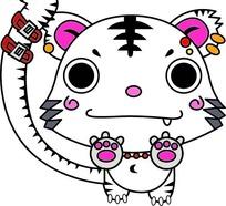 卡通动物插画-可爱的老虎