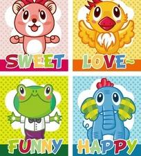 卡通动物 老鼠小鸡青蛙和大象