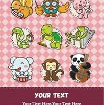 卡通动物 演奏指挥和演唱的动物