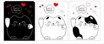 卡通动物 招手的肥胖的小猫