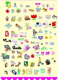 卡通蝴蝶小男孩花朵汽车图标封面