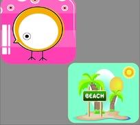 卡通小鸟椰子树海边笔记本封面