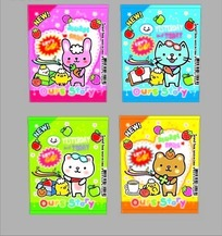 卡通小兔子小猫笔记本封面
