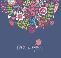 手绘围成半圆的心形和枝条花朵以及英文上的鸟