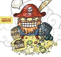 卡通插画 财宝上凶恶的海盗船长