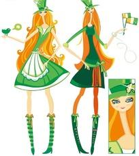 卡通插画 戴着礼帽绿色连身短裙的两个长发美女